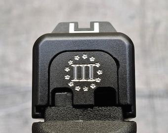 Black Cerakoted Three Percenter Stainless Steel Engraved Glock Slide Back Plate