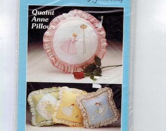 1970s Vintage Sewing Pattern Patchword Pattern and Instructions by Yours Truly Quaint Anne Pillows Embroidery Design UNCUT
