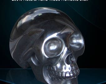 Huge 5 Inch Hematit Carved Crystal Skull, Super Realistic, Crystal Healing 6.3LB, Large Skull