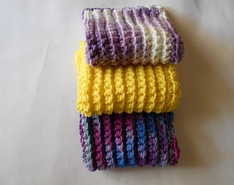 Three Bright Colored Crochet Dish Cloths