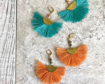 Colorful Tassel Chandelier Earrings.  Dangle Earrings.  Statement Earrings. Jewelry Gift. Gold Tassel Earrings. Chandelier Earrings Gift.