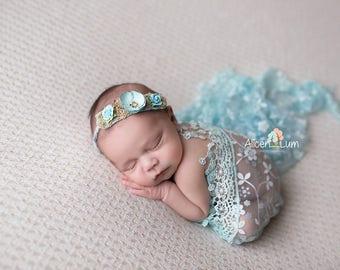 Blue Vintage Tieback, Newborn Tieback, Baby Headband, Baby Girl Tieback
