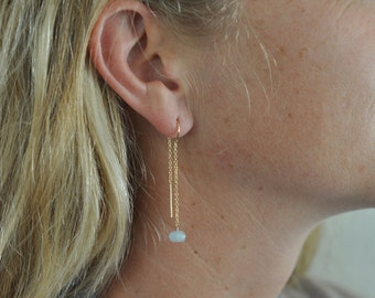 Aquamarine gold ear threaders