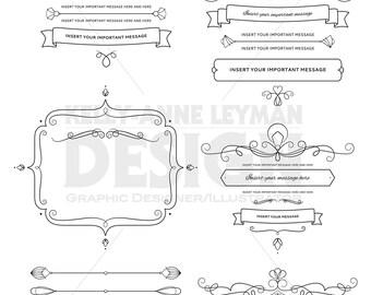 Digital Frames Labels Clipart, Text Dividers, Design Elements, Digital Flourish, Commercial Use, Digital Download Art, Vector Graphics