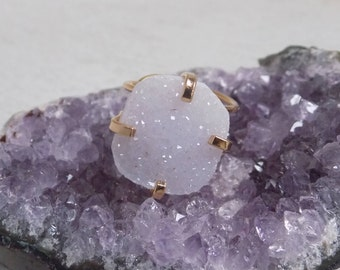 Druzy Stone Ring, Druzy Quartz Ring, Snow Druzy Ring, Crystal Ring, Adjustable Ring Bohemian Jewelry Statement Ring Gold Gift For Her G5-155