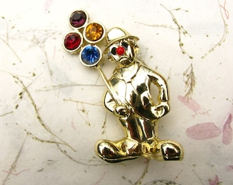 Vintage Sad Clown Brooch holding Rhinestone Balloons in Gold Tone