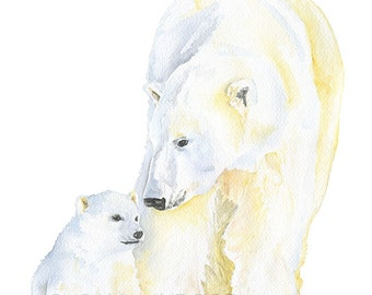 Polar Bears Watercolor Painting - Giclee Print Reproduction - 8x10 / 8.5x11 - Nursery Art - Mother and Baby