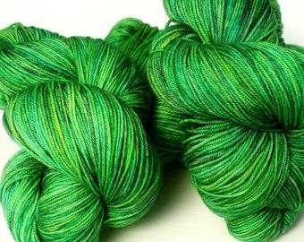Hand dyed Fingering Weight Yarn, Key Lime Colorway: 100 grams Handdyed Yarn Merino/Tencel/Nylon Fingering Weight Yarn, Hand Dyed Sock Yarn