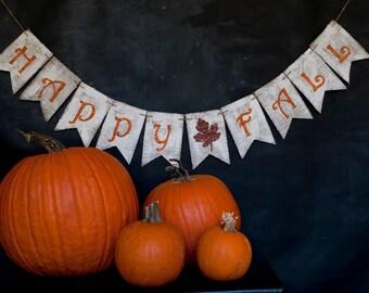 Rustic Fall Banner, Rustic Happy Fall Burlap Banner, Fall Banner, Fall Decor, Fall Photo Prop, B180