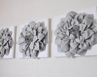 "THREE - Wall Flower -Gray Dahlias on White Canvases 12 x12"" Canvas Wall Art- 3D Felt Flower"