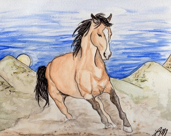 Original Galloping Horse Watercolor Painting Portrait (9x12): Gift for Horse Lover