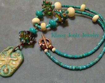 Ceramic Gecko and Lampwork Beaded Pendant - Necklace-Artisan Ceramic Pendant - Artisan Lampwork Beads-Turquoise Gemstone Heishe Beads-SRAJD