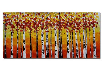 Oil Painting, Wall Art, Canvas Painting, Abstract Painting, Canvas Art, Wall Art, Birch Tree Painting, Landscape Oil Painting, Abstract Art