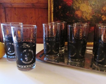 Hollywood Regency Coin High Ball Glassware, Set of Eight Vintage Barware, Black and Gold Coin Hi Ball Glasses