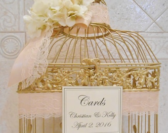 Gold Foil Birdcage Wedding Card Holder | Wedding Card Box | Gold Birdcage | Card Holder