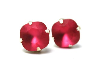 Watermelon Pink Crystal Stud Earrings Classic Sparkling Coral Indian Matte Frosted Solitaire Swarovski 10mm Sterling Silver Post Gold Copper