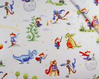 FAIRY TALES 2 Cotton Fabric by the yard,  PRINCE 100% Cotton Fabric Fat Quarter, Quilt Fabric, Quilting Fabric, Nursery Decor Fabric kids