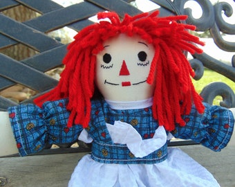 10 inch Raggedy Ann Cloth Doll in Blue Print Dress