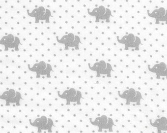 Little Prints by Studio K for Robert Kaufman, Small Grey Elephants and Dots on  White #16197, 100% Cotton Double Gauze Fabric - Half Yard