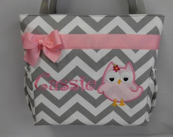 OWL Appliqué ... CHEVRON  in Gray ...   ... PINK Accents  ...   Diaper Bag ... Monogrammed  FReE
