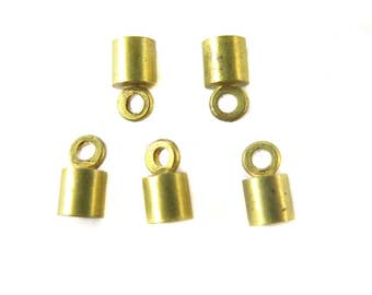 Tiny Vintage Raw Brass End Cap Findings (16X) (F637)
