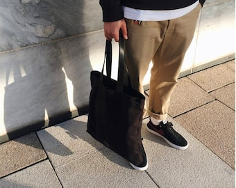 Canvas & Leather Tote - Black