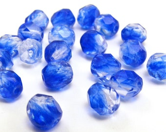 Crystal - Sapphire Blue 6mm Facet Round Czech Glass Fire Polished Beads #442