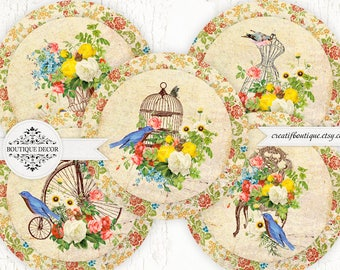 Vintage Flower Labels 7 cm (2.75 in). Set of 5. Digital download for scrapbooking and packaging.