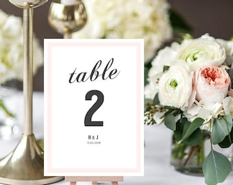 Table Numbers with Border, Printable Table Numbers Template, Borders and Text in any colour, Harper, Edit in WORD or PAGES