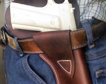 Leather 1911 Cross Draw Holster, Left or Right handed.