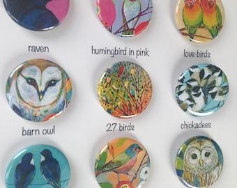 Bird Art Magnets, choose from 9 designs, 1.25 in, by Jenlo