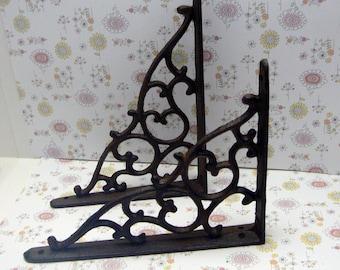 "Wall Bracket Cast Iron Shelf Ornate Vine 7 1/4"" x 5 3/8"" Brace Natural Raw Shabby Decorative Do it Yourself 1 Pair (2 individual brackets)"