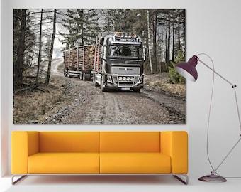 Volvo Truck canvas Timber Truck print Truck decor Truck decor Truck canvas Dumper truck wall art Boy room decor Construction canvas