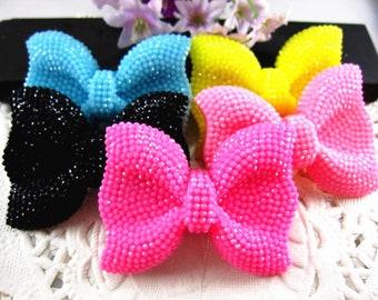 Glitter Sparkle Big Bow  - You choose color - Black Yellow Pink Light blue  Plastic Kawaii Decoden Resin Flatbacks Cabochons GS050818