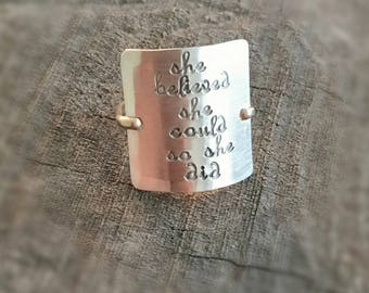 """Hammered Sterling Silver and Gold Filled Ring - Hand Stamped """"she believed she could so she did"""""""