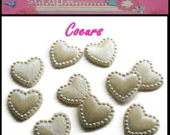 Set of 10 white embellishment scrapbooking hearts *.