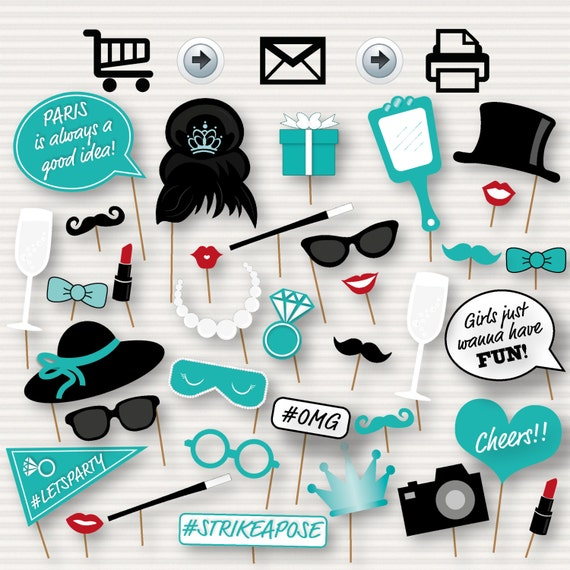 Breakfast at Tiffany's Party Printable Photo Booth Props