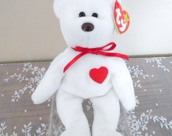 Rare 1993 Retired Valentino Beanie Baby Many Errors PVC Mint Condition Vintage Childrens Stuffed Toys White Collectible Bears Free Shipping