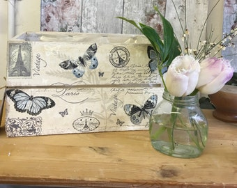 Butterly • storage box • wooden crate • vintage butterfly • paris • blue• planter • bits and bobs