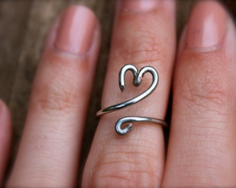 Small heart midi ring, silver anti-tarnish wire wrapped ring