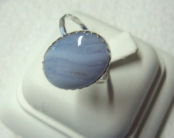 Blue Lace Agate Ring - .925 sterling silver (reclaimed/recycled) 16g hm- Fair Trade eco friendly - Custom size
