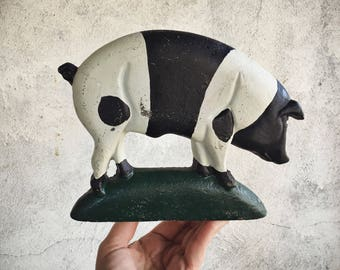 Cast Iron Pig Door Stops Animals, Pig Gifts, Farmhouse Decor, Black White Pig Decor, Pig Lover