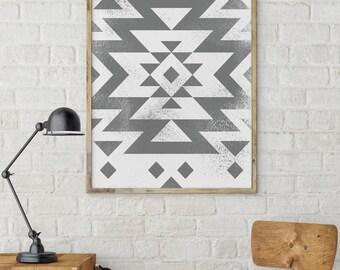 Modern print, Geometric Print, Aztec Print, Trending now print, Above Bed Print, Bedroom Decor, Printable Art, Grey Abstract Art, Tribal Art