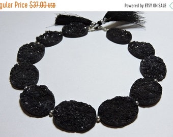 Summer Sale 10 Pcs Beautiful Natural Black Druzy Oval Shaped Beads Size 27X22 MM