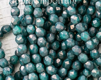 Moon Dust Turquoise 3mm Fire Polished Faceted Round Czech Glass Beads - 50 beads - Firepolished Turquoise Moondust - 2292