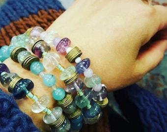 Blue Quartz| Flourite bracelet| Beaded Bracelet| Stackable Bracelet| SemiPrecious Stone Bracelet| Gemstone Bracelet| Coin bracelet