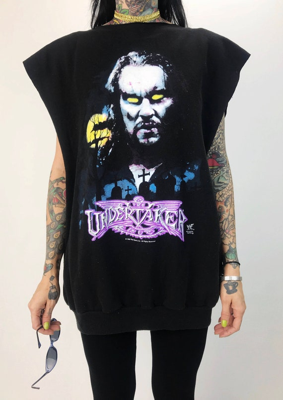 90s WWF Undertaker Pro Wrestling Sleeveless Sweatshirt Mens Large/XL - 98' Vintage Wrestling The Dead Man Pullover Sweatshirt Tank Top RARE
