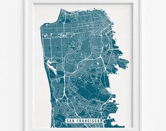 San Francisco Print, California Poster, San Francisco Poster, San Francisco Map, California Print, Street Map, Mothers Day Gift