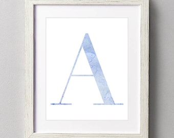 Letter A | Nursery Print | Nursery Art | Alphabet | Instant Download | Digital Print | Wall Art | Baby Boy | Initials | Blue | Watercolor