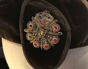 1940s Velvet Hat with Gorgeous Rhinestone Appliqué of White, Red and Gold on Chocolate Brown Beret Style Evening Hat